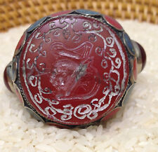 Middle Eastern Silver Carnelian Turquoise Coral Silver Ring Size 12