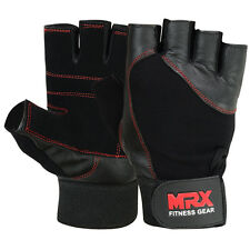 Weightlifting Gloves Genuine Leather Fitness Gym Exercise Men's Glove Black