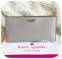 KATE SPADE LEATHER CAMERON LARGE SLIM BIFOLD WALLET IN SOFT TAUPE
