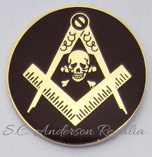 Masonic Square & Compasses with Skull & Bones Lapel Pin Mason Freemason