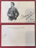 Piero Mascagni dedica autografa su foto cartolina del 1900