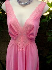 "Vintg OLGA 91281 Sz M~COTTON Spandex Pink Gown~Nightgown Formfit~28""W 112""Sweep"