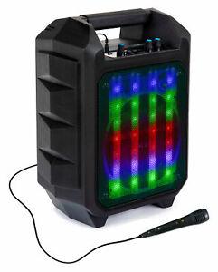 LED Outdoor Party Bluetooth Lautsprecher Radio Box USB SD AUX MP3 Mikrofon Akku
