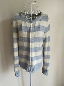 Gap Women's Cardigan Size M (12-14) Cream Grey Striped With Wool Long Sleeved