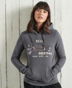 Superdry Womens Factory Second Vintage Logo Sequin Brushed Hoodie