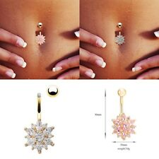 NEW rystal Bar Belly Ring Body Piercing Button Navel Flower Snow Trendy Jewelry