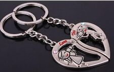 Sweet Heart Lover Couple Key Chain Ring with Boy and Girl Calling Each Other KC3