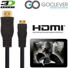 GoClever TAB A73 Android Tablet PC HDMI Mini to HDMI TV 2.5m Gold Cable Cord
