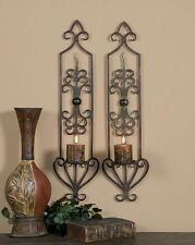Luxe Colonial Large Iron Scrollwork Wall Candle Sconce Set Antique New Designer