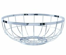 Present Time FRUIT BASKET OPEN GRID Wire Metal Bowl CHROME Silver