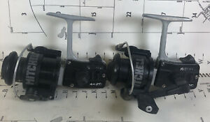 TWO VINTAGE MITCHELL 4420 SPINNING REELS 1 IN GREAT SHAPE 1 NEEDS HANDLE FRANCE