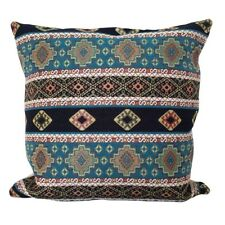 "Turquoise Kilim Pattern Tapestry 18x18"" Pillow Case / Cushion Cover (Linen back)"