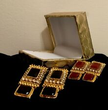 Ghazi's Imitated Indian Antique Red Gold Kundan Jhumka Earrings In Gift Box
