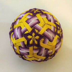 Japanese Temari Ball  Handmade by me with love -Purple flower in a yellow maze
