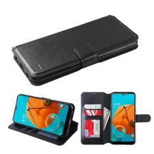 For LG K51 Leather Wallet Flip Phone Case Protector Cover Slot Pouch Stand BLACK