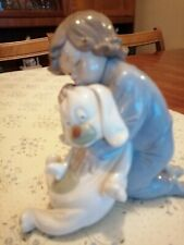 More details for nao  by lladro  goodnight kiss . little boy with stuffed dog model 1408