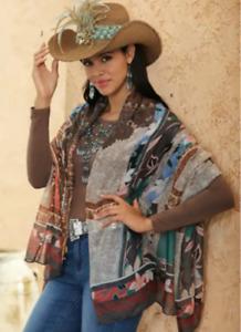 OSFM Midnight Velvet Brown Multi Sonoran Southwest Western Cowgirl Wrap
