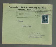1929 Warsaw Poland Powszechny Bank Commercial Cover to Zurich Switzerland