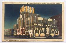 1938 NY Postcard Syracuse New York Lighting Co Office Bldg at Night Erie Blvd