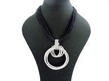 Big Chunky Multi Hoops Rings Black Cords Pendant Necklace UK Designer Style