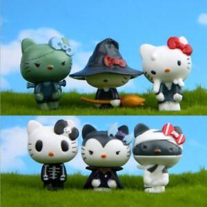 Japan Anime Hello Kitty Halloween Style Mini Figure Toy Kids Cake Toppers 6pcs