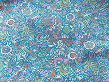 "Estate Fabric Vintage Bates Floral Flower Retro 38"" W Pink Blue BTY R Quilt"