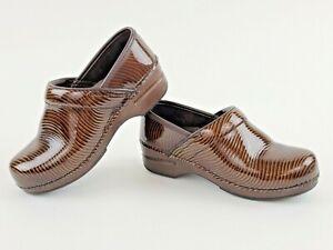 DANSKO XP Clogs Brown Marbled Stripe Leather Size EU37