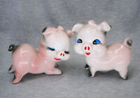 Vintage Pink Pigs with Bows & Blue Eyes Salt & Pepper Shakers Made in Japan