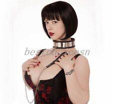 Slave Bondage Collar Stainless Steel Silicone Lining Over Latex Neck Collar BDSM