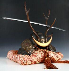 Life Size Japanese Samurai Helmet -shikanosuke kabuto- with a Replica Tsushima
