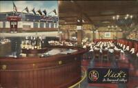 Greenwich Village New York City NICK'S Bar Restaurant Linen 1940s Postcard