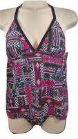 Pink Halter Tankini Top Mesh swim bathing suit swimwear Mossimo Small