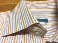 ETON OF SWEDEN DRESS SHIRT WHITE BLUE RED TAN STRIPE DOUBLE BUTTON COLLAR 15.5