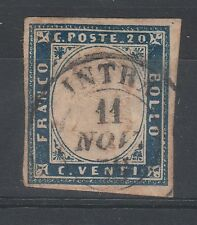 FRANCOBOLLI 1857/58 SARDEGNA 20 C. INDACO D/77