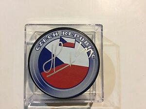 Martin Havlat Signed Team Czech Republic Hockey Puck Autographed a