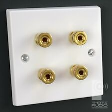 More details for 4 x gold plated binding posts - speaker wall face plate white non-solder