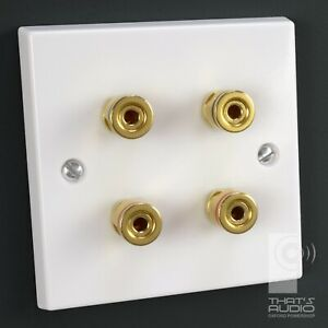 4 x Gold plated Binding Posts - SPEAKER Wall Face Plate White Non-Solder