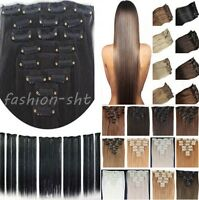 """100% Full Head Clip In Remy Human Hair Extensions 15"""" 18"""" 20"""" 70g Hair Weft"""