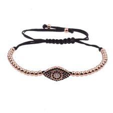Evil Eye Adjustable Braiding Fashion 18k Gold Plated Zircon Macrame Bracelets
