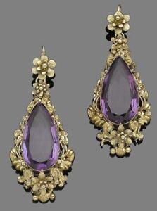 20Ct Pear Cut Amethyst Simulant Art Deco Carved Earrings Yellow Gold Fnsh Silver