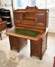 North German Walnut Jugendstil Desk, Large Leather Top Home Office