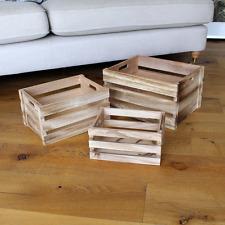 3Pc pera in legno vintage cassette da frutta RUSTICO VECCHIO ingiustificata modestia Box Shabby Chic Storage