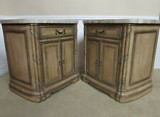 Pair Marble Top Oversize Nightstands End Tables Chests Commodes Cabinets