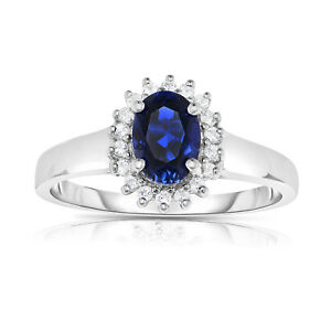 10k White Gold Lab created blue sapphire and white topaz ring size 7
