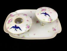 Vintage Nippon Blue Bird Happiness Porcelain Dresser Set Tray Hair Receiver 3 Pc