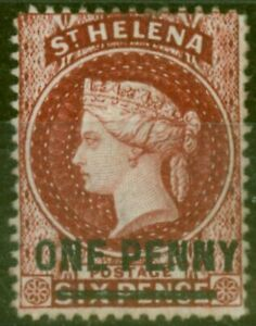 St Helena 1880 1d Lake SG27 Fine Mtd Mint