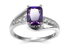 Stunning Amethyst And Crystal Ring Size T.