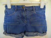 Girls Blue Denim shorts with turn ups and adjustable waist size 10 years