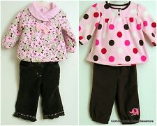 Girls Winter Outfits 6-9 months Pink Brown Polka Dot Floral Lot of 2 Outfits