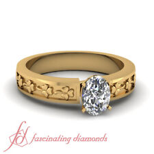 1/2 Ctw. Oval Shape Diamond Antique Solitaire Engagement Ring In 18K Yellow Gold